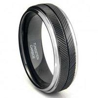 Black Tungsten Carbide Chevron Wedding Band Ring