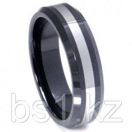 Black Ceramic Tungsten Inlay Beveled Wedding Band Ring