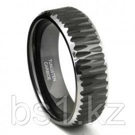 Black Tungsten Carbide Hammer Finish Beveled Wedding Band Ring