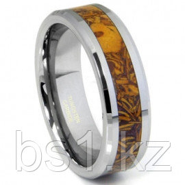 Tungsten Carbide Brown Riverstone Inlay Wedding Band Ring