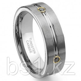 Tungsten Carbide Gold Eternity Black Diamond Wedding Band Ring