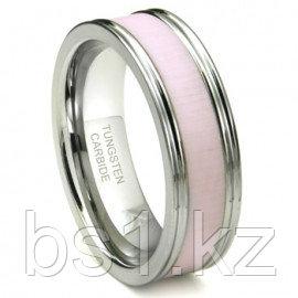 Tungsten Carbide Pink Ceramic Inlay Wedding Band Ring w/ Horizontal Satin Finish