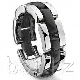 Single Row Black Diamond Ceramic Unisex Wedding Ring