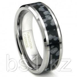 Tungsten Carbide Cosmic Riverstone Inlay Wedding Band Ring