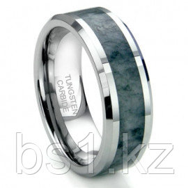 Tungsten Carbide Grey Metamorphic stone Inlay Beveled Wedding Band Ring
