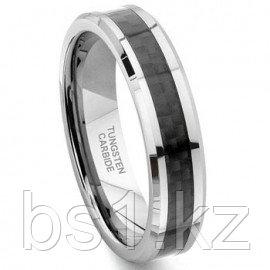 Tungsten Carbide 6MM Carbon Fiber Inlay Wedding Band Ring