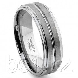 NICCOLO Tungsten Carbide Ribbed Satin Wedding Band Ring