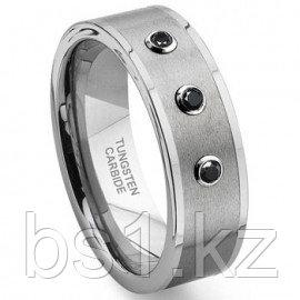Tungsten Carbide Black Diamond Flat Top Wedding Band Ring