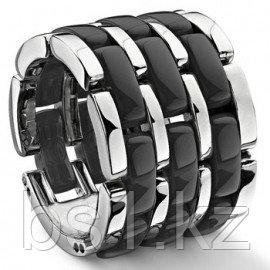 Black 3 Row Diamond Ceramic Unisex Wedding Ring