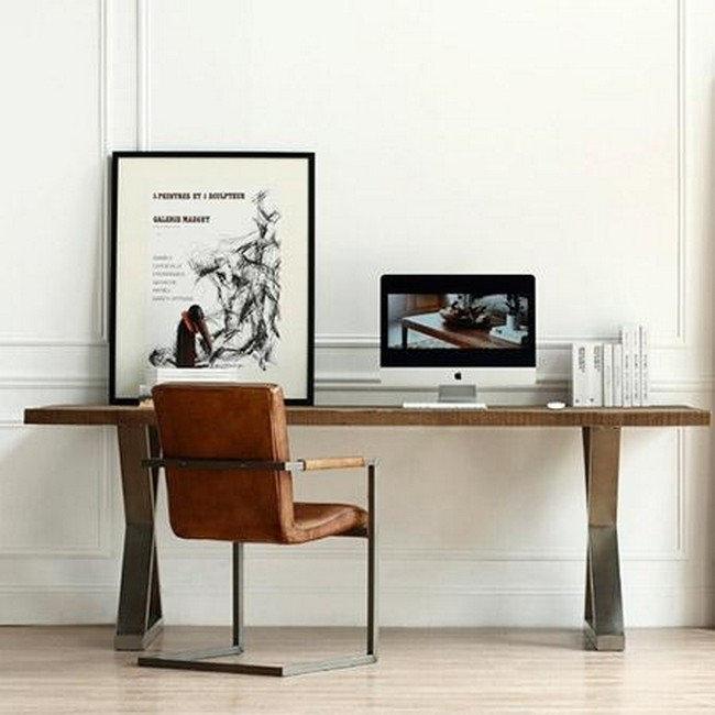 Стол на металлических ножках с сосновой столешницей , фото 2