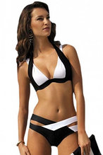 Black White Color Block Push up Swimwear
