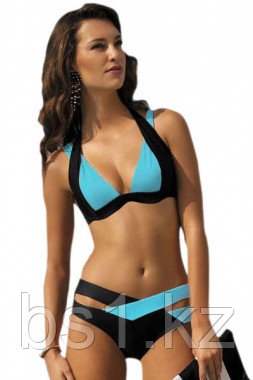 Black Blue Color Block Push up Swimwear