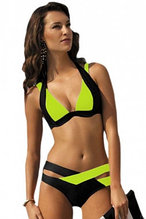 Black Yellow Color Block Push up Swimwear