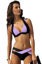 Black Purple Color Block Push up Swimwear