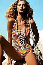 Multicolor Lace-Up Plunging Halter One Piece Swimwear