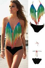 Gradient Rainbow Long Fringe Bikini