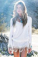 Chic Boho Tassel Hem Beach Mini Dress