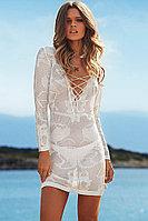 White Long Sleeve Knitted Tunic Beachwear