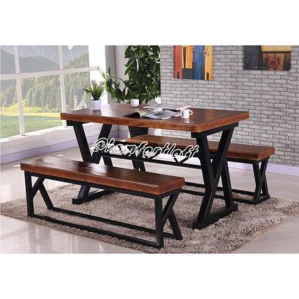 Комплект с сосновой столешницей Loft (стол, 2 скамейки), фото 2