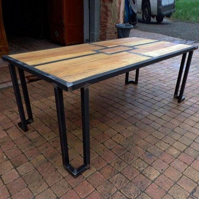 Металлический стол со столешницей из сосны в стиле Лофт, фото 2