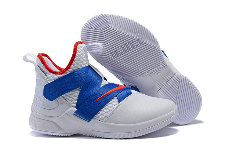 "Кроссовки Nikе Lebron Zoom Soldier 12 (XII) ""White/ Blue/ Red"" (40-46)"