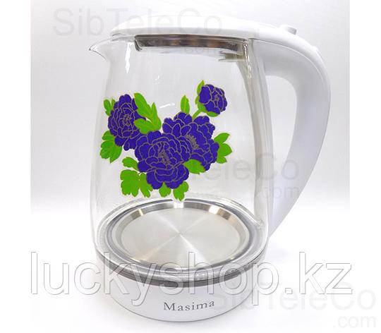 Чайник электрический стекло Masima MJ-1027 2л 2200Вт подсветка, фото 2