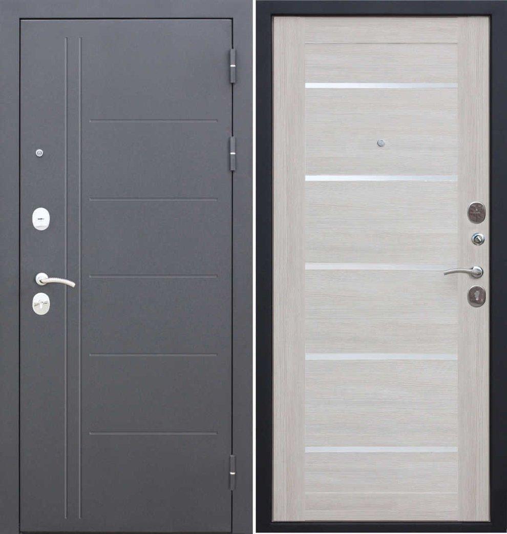 """Дверь металлическая входная """"Троя""""Серебро лиственница беж"""