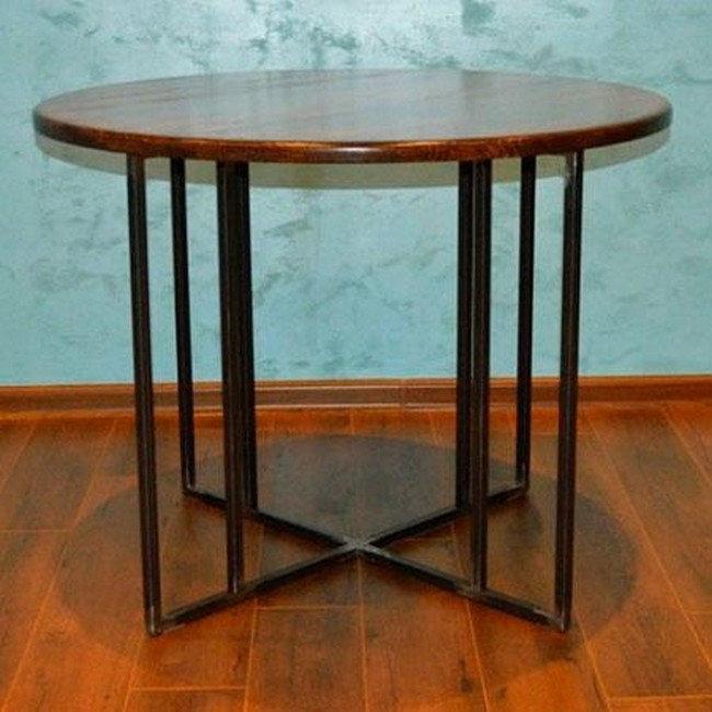 Круглый кухонный стол на металлическом основании (Лофт), фото 2