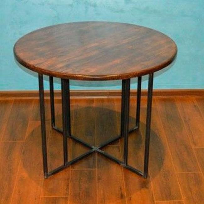 Круглый кухонный стол на металлическом основании (Лофт)