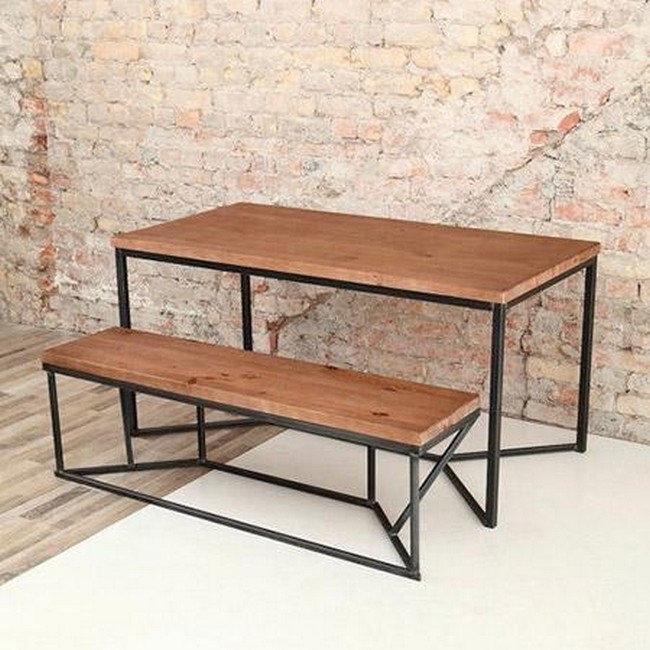 Стол с лавкой на металлическом основании (стол, 2 скамейки), фото 2