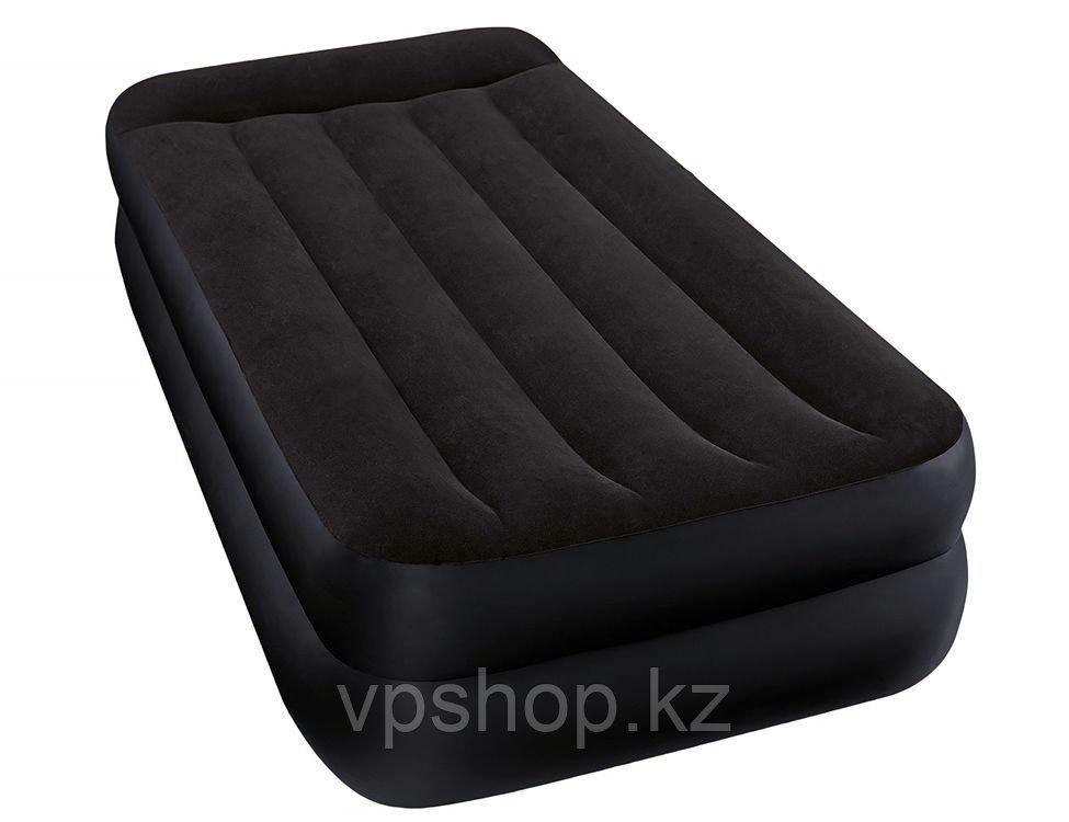 Матрас надувной, высокая односпальная надувная кровать Intex 64122 с доставкой
