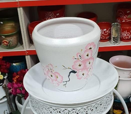 Керамический горшок для цветов. Объем: 1л.