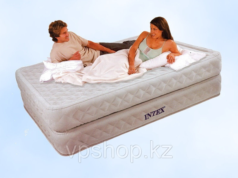 Матрас надувной, люкс двуспальная надувная кровать со встроенным насосом, Intex 64464 с доставкой