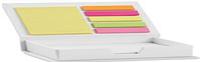Блокнот для заметок на 100 желтых страниц с разноцветными стикерами. Белый.
