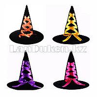 Шляпа ведьмы из велюра на Хэллоуин (Halloween) черная с лентами