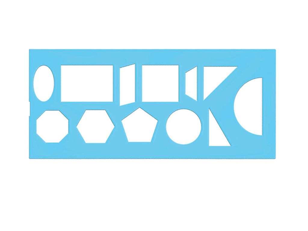 Линейка-трафарет геометрических фигур зеленый
