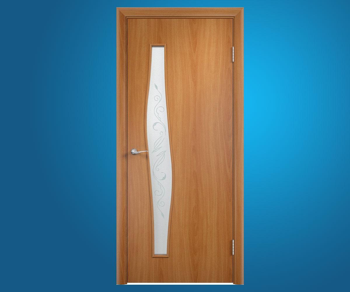 """Ламинированные двери """"Волна""""Художественная Миланский орех"""