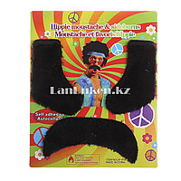 Накладные усы и бакенбарды в стиле хиппи 70-х. черные