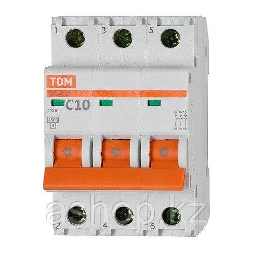 Автоматический выключатель реечный TDM ВА47-29 3P 10А, 230/400 В, Кол-во полюсов: 3, Предел отключения: 4,5 кА
