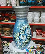 """Керамическая ваза 30см. """"Голубые цветы на серо-голубом""""."""