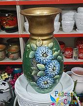 """Керамическая ваза 30см. """"Голубые цветы на зеленом с золотом""""."""