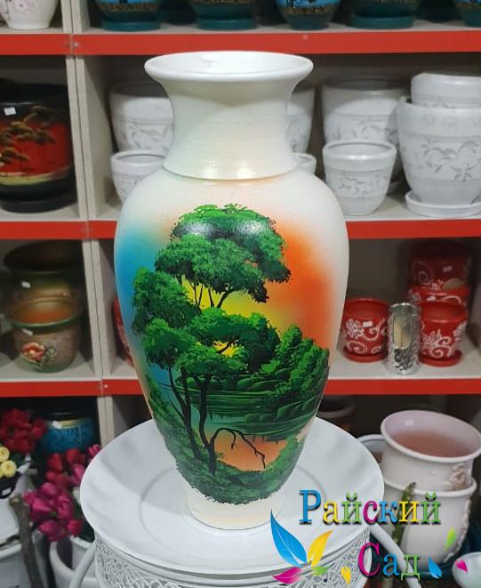 """Керамическая ваза 30см. """"Зеленые деревья на белом""""."""