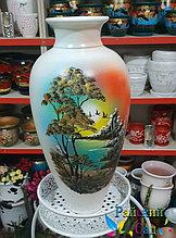 """Керамическая ваза 50см. """"Берег океана на белом""""."""
