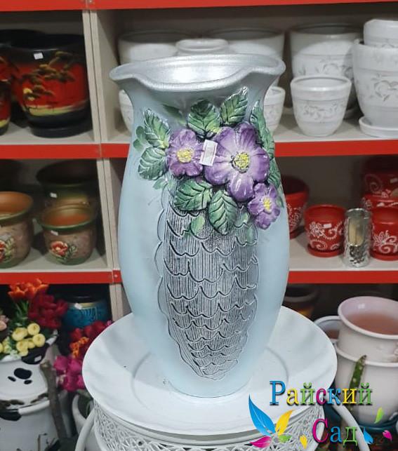 """Керамическая ваза 30см. """"Фиолетовые цветы на серо-голубом""""."""