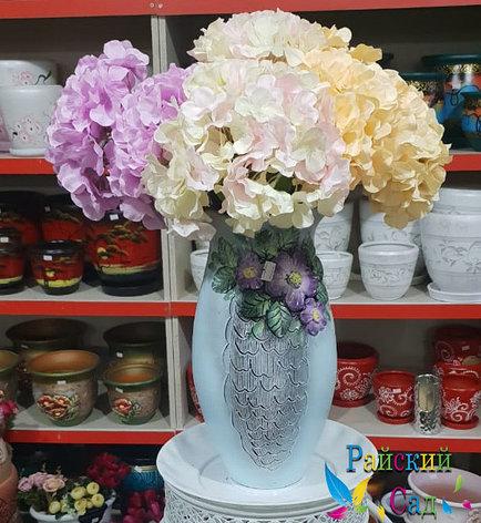 """Керамическая ваза 30см. """"Фиолетовые цветы на серо-голубом""""., фото 2"""
