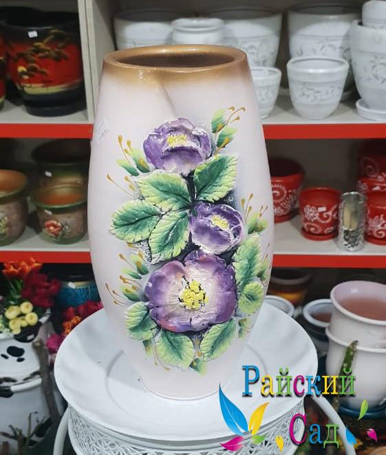 """Керамическая ваза 30см. """"Сиреневые цветы на бежевом""""."""
