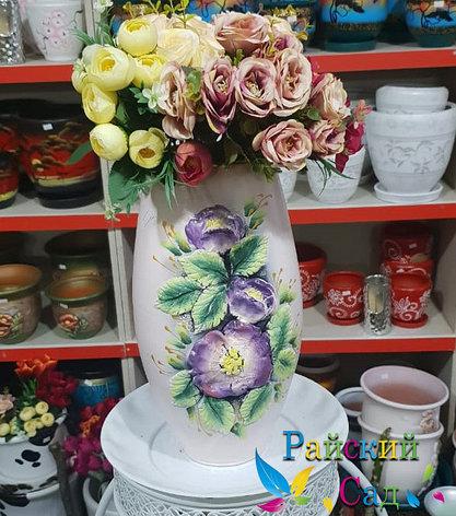 """Керамическая ваза 30см. """"Сиреневые цветы на бежевом""""., фото 2"""