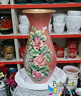 """Керамическая ваза 30см. """"Розы на бледно розовом """"."""