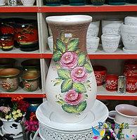 """Керамическая ваза 30см. """"Розовые розы на бело-коричневом""""."""