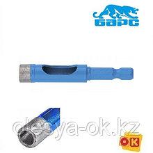 Сверло алмазное по керамограниту, 8 х 35 мм, 6-гранный хвостовик // БАРС